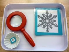 snowflake matching. look through the magnifying glass to match the small and big one. love this