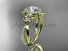"14kt yellow gold diamond leaf and vine wedding ring, engagement ring with a ""Forever One"" Moissanite center stone ADLR89"