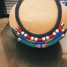 """""""So obsessed with this neck piece by Henriette Botha who will be one of the exhibitors at the Sanlam Handmade Contemporary Fair in October ❤️"""" Bold Jewelry, Cute Jewelry, Beaded Jewelry, Jewelry Design, Jewellery, Neck Piece, Beads And Wire, African Fashion, Contemporary Design"""