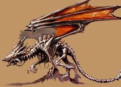 View an image titled 'Bone Dragon Concept Art' in our Guild Wars Prophecies art gallery featuring official character designs, concept art, and promo pictures. All Mythical Creatures, Fantasy Creatures, Character Art, Character Design, Dragon Images, Guild Wars, Monster Design, Fantasy Dragon, Dragon Design