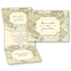 Create a theme of nostalgia and world travel with a uniquely decorated map-themed, z-fold wedding invitation.