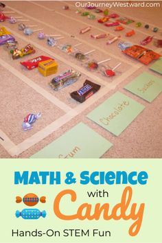 Hands-On Candy Math and Science Lessons Make Learning Fun - Our Journey Westward Science For Toddlers, Preschool Science Activities, Hands On Activities, Science Lessons, Science Projects, Science Experiments, Preschool Activities, Counting Activities, Science Ideas