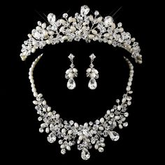 Regal Crystal and Pearl Wedding Tiara and Matching Jewelry Set