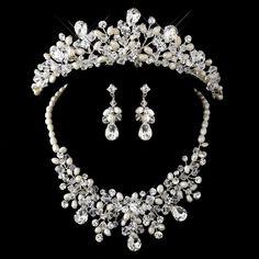 Silver Freshwater Pearl, Swarovski Crystal Bead, and Rhinestone Tiara Headpiece & Jewelry Set
