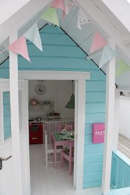 Easy To Build Playhouse Plans That Are Eye Popping! Heart Handmade UK: The Best Little Play Shed for Girls Playhouse Interior, Garden Playhouse, Build A Playhouse, Playhouse Outdoor, Playhouse Ideas, Playhouses For Girls, Little Girls Playhouse, Painted Playhouse, Playhouse Decor