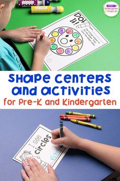 These Shape Activities and Centers for Pre-K and Kindergarten will be a great addition to your shapes curriculum. There are a lot of skills your early learners gain from shapes. Of course they learn to identify and name 2D and 3D shapes, but they also make real world connections and learn important vocabulary and symmetry. These skills build the foundation for geometrical thinking. #kindergarten #prek #kindergartenmath #kindergartencenters #teachingkindergarten