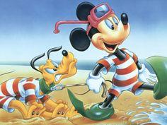Desenho Mickey e Pluto na Praia