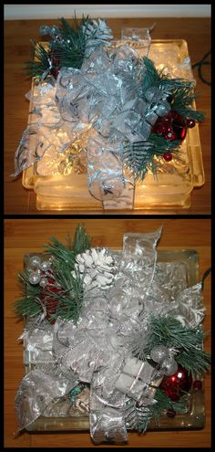 Christmas light block - I made this one last Christmas for my mother-in-law. These are super easy to make, Lowe's sells the blocks with the holes drilled so all you have to do is decorate the block like a present. I used wire-edged ribbon and 2 plant stakes (found in your craft store). I glued everything together with E6000 glue.