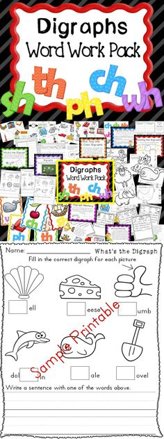 Digraphs Word Work Pack- This is includes SH, TH, PH, CH, AND WH the H brothers! It has classroom displays, printables, morning messages, games, and centers-everything you need to teach these digraphs