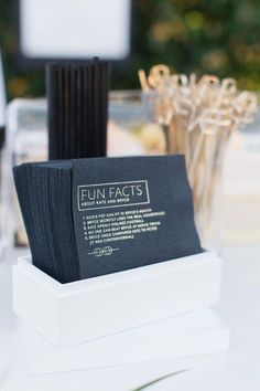 Love these custom printed cocktail napkins for a wedding bar featuring fun facts about the bride and groom Wedding Goals, Wedding Events, Our Wedding, Wedding Planning, Dream Wedding, Parker Palm Springs, Wedding Napkins, Wedding Wishes, Here Comes The Bride