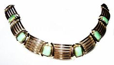 "Excited to share the latest addition to my #etsy shop: Mint Green Link Bracelet Opaque Stones Signed 11 W.30th St Inc. Gold Bars 7 1/4"" Vintage https://etsy.me/2I45hRo #jewelry #bracelet #green #box #gold #no #women #specialtychains #geometric"