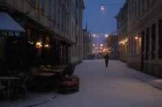 Winter in Gothenburg.   On the corner of Haga Nygata and Mellangatan.   Le Petit Cafe   Snowy street   Scandinavian winter