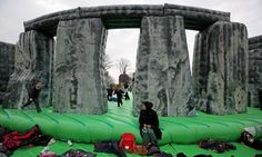 King of the bouncy castle ... Jeremy Deller's Sacrilege at Glasgow Green is part of the Glasgow international festival of visual arts. Photograph: Jeff J Mitchell/Getty Images #GI2012 #TheGuardian