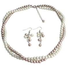 Price  :$13.99 Fine Jewelry Set Bridesmaid In Ivory And Champagne Pearls Two Strands Twisted Necklace Material : Glass Pearls Necklace & size - 6mm Ivory & champagne pearls Color : Ivory / Champagne Necklace Length : 16 inches with 2 1/2 inches extension Earrings Length : 1 1/14 inches Earrings Type : French hook nickel free