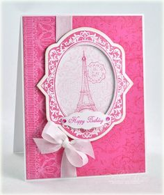 Love this monochromatic pink Parisian birthday card from Debbie Olson.