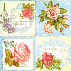 33 x 33cm Bellis Rose Napkins 4 Paper Napkins for Decoupage 4 Individual Napkins for Craft and Napkin Art. 3-ply