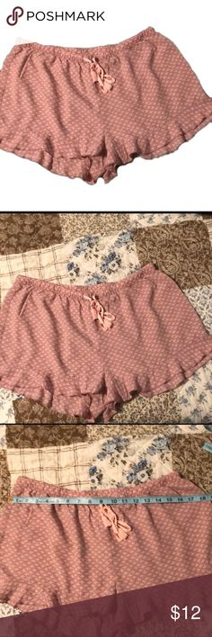 Women's sleep shorts Women's sleep shorts with drawstring and ruffles at the bottom  Size M (measurements in photos)  Color: Mauve/pink EUC (only worn a few times)  Brand: Gillian and O'Malley   Bundle and save! Gilligan & O'Malley Intimates & Sleepwear Pajamas