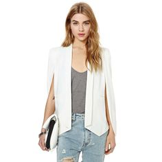2014 Autumn Winter Fashion Women Blazers and Jackets Casual Champagne Solid White Black Open Sleeve Ladies Suits blazer feminino
