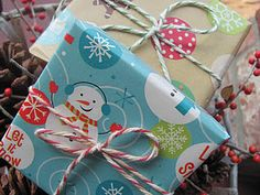 using colorful baker's twine for wrapping gifts