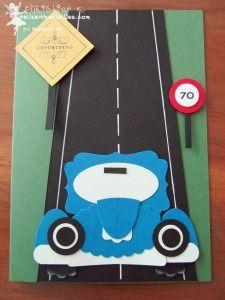 Geb38-1 Punch Art Oldtimer Car Birthday Männerkarte Stampin' Up Punch Art