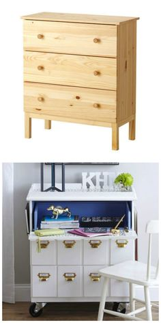 A Tarva chest gets a second life as a rolling desk in this IKEA hack!