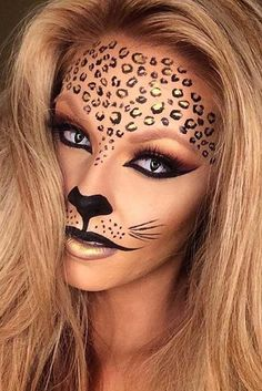 Halloween makeup. Tiger, lion, cat, leopard. Simple costume- gold dots, outlined with liquid black eyeliner, cat eye, nose and upper lip outlined in liquid black with a Few whiskers. Just wear black. Simple and easy costume. #ad #makeup #leopard