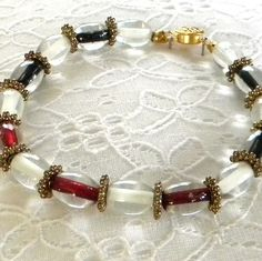 Black Red and White Ovals Bracelet by marilyn1545 on Etsy, $20.00
