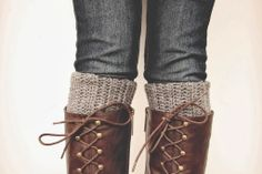 Boot Cuff: size J hook First row: Loosely Crochet 20 single crochets Second row: Skip two stitches and Half Double Crochet in each single Crochet, Single crochet 2 stitches at the end. Third row: Half Double Crochet into the back loop, across the next row, at the end single crochet 2 stitches (the rest is the same as the Third row)