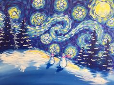 Join us at Pinot's Palette - Bricktown Studio on Sat Dec 2017 for A Snowy Night. Seats are limited, reserve yours today! Winter Scene Paintings, Winter Painting, Cool Paintings, Acrylic Paintings, Christmas Art Projects, Winter Art Projects, Family Painting, Diy Painting, Rock Painting