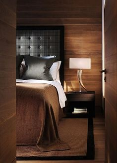 Masculine Modern Chic Bedroom. Love the deep rich colors of brown & black combined.