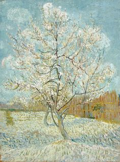 The Pink Peach Tree, by Vincent Willem van Gogh. Van Gogh intended the three orchard paintings, The pink orchard, The white orchard, and The pink peach tree to go together: a letter to Theo includes a sketch of the triptych he had in mind. Vincent Van Gogh, Art Van, Claude Monet, Rembrandt, Henri De Toulouse-lautrec, Van Gogh Arte, Van Gogh Pinturas, Georges Seurat, Van Gogh Paintings