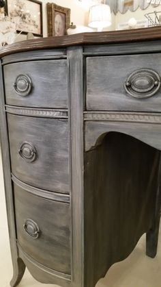 Karla Ritchey of Lady Butterbug painted this desk with color Graphite...Annie Sloan Chalk Paint®...and a dark wax glaze.  Go here to read about this technique: http://ladybutterbug.blogspot.com/2015/02/chalk-paint-graphite-and-dark-wax-glaze.html  #ladybutterbug #morethanpaint #chalkpaintis25