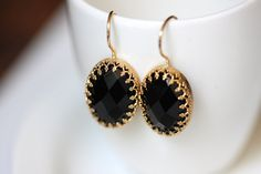 NonnaSoul 24K gold plated earrings with black faceted agate $60.00