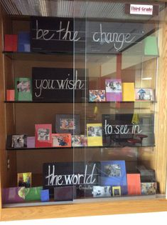 "Display case for an elementary school based on the Gandhi quote, ""be the change you want to see in the world."" -Sue use coins School Entrance, School Hallways, School Murals, Elementary School Office, Elementary Schools, Middle School, School Decorations, School Themes, School Ideas"