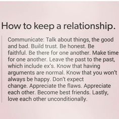 How to keep a relationship...