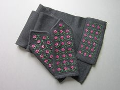 Hand Knit Black Merino Wool Scarf and Mittens with Seed Beads