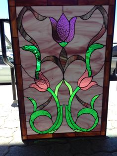 Pastel English Style Tulips Stained Glass by ArtGlassWindows Making Stained Glass, Custom Stained Glass, Stained Glass Flowers, Stained Glass Panels, Leaded Glass, Beauty Supply Near Me, Vinyl Frames, Window Panels, Stain Colors