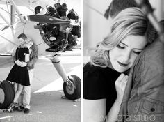 KM Photo Studio ~ Romantic Picnic ,Styled Vintage Engagement Session with Airplane, WWII era