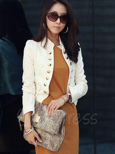 Single-Breasted Stand Collar Long Sleeve Women's Blazer - m.tbdress.com
