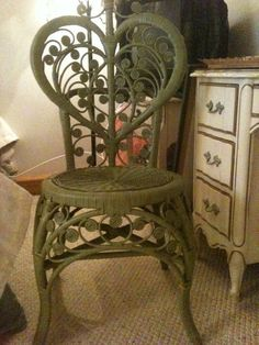 Vintage Wicker Rattan Sage Green Wicker Heart Shaped Back Chair with Curly Q Tendril Designs by @VintageVelvetandLace liked by wickerparadise, visit our wicker furniture selection.