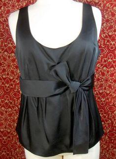 ANN TAYLOR black wool blend evening wear sleeveless blouse 12 (T38-08D7G) #AnnTaylor #Blouse #EveningOccasion