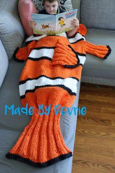 Knitting Pattern for Nemo Tail Blanket