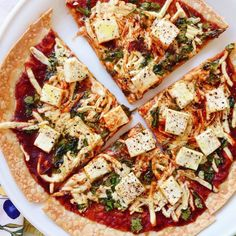 Single-Serve BBQ Tofu Pizza! This healthy light recipe is too DELICIOUSLY easy not to try. Full recipe below   Ingredients: 1 brown rice tortilla 2 tablespoons BBQ sauce 1/2 cup organic baby spinach leaves (diced) 1/4 cup dairy free mozzarella 1.5 ounces extra firm tofu (cubed) sea salt and fresh ground black pepper to taste optional add-ins: onion scallion  Directions: preheat oven to 400 degrees place tortilla on a square piece of aluminum foil spread BBQ sauce evenly around the tortilla…