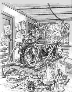 The Time Machine by Bob Berry · on deviantART Time Travel Machine, The Time Machine, Steampunk Kunst, Dieselpunk, Mountain Biking, Comic Art, Science Fiction, Fantasy Art, Sci Fi