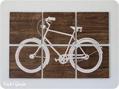 Cool Retro Bike Screen Print on Woodgrain Panels  by RightGrain, $235.00