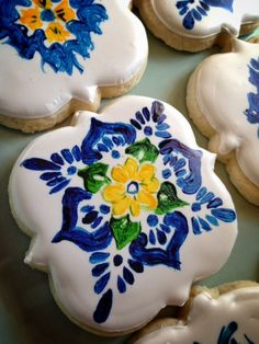 """1 Dozen TRADITIONAL or GLUTEN FREE """"Spanish Tile in Style"""" Hand Painted Sugar Cookies"""