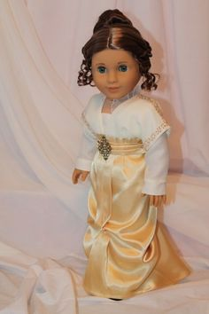 Titanic Rose's Deck dress for American Girl Doll. OOAK. Hand beading around sleeves and across shoulders by All Dolled Up Doll Clothes