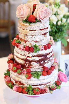 Beautiful unfrosted wedding cake