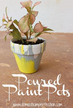 Poured paint pots - fun and easy craft, perfect for kids