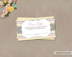 Diaper Raffle Ticket - Baby Girl Shower - INSTANT DOWNLOAD - by Poofy Prints